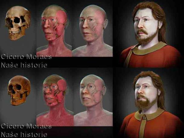 Facial reconstruction process of Spytihnĕv I and Vratislav I, the Slavic warriors who faces have been forensically reconstructed using DNA samples. (Cisero Moraes / Naše historie z. s.)