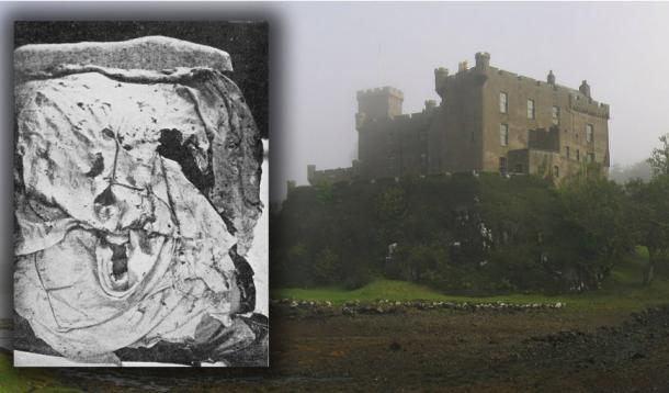 The Fairy Flag (Public Domain) and Dunvegan Castle on the Isle of Skye in the mist, August 2007. (CC BY-SA 3.0)