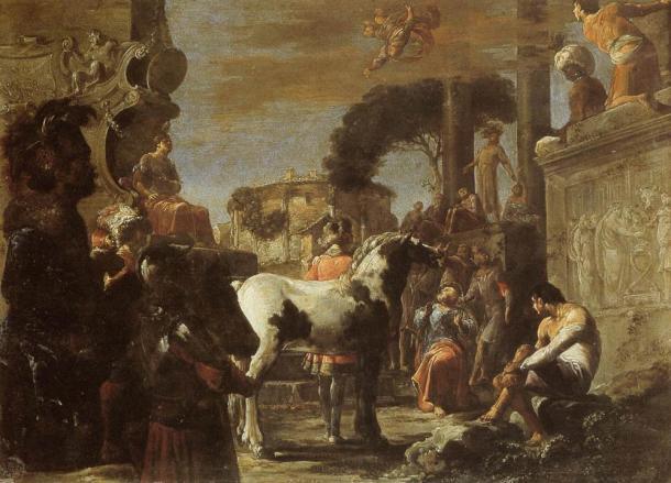 Fall of Simon Magus by Leonaert Bramer.