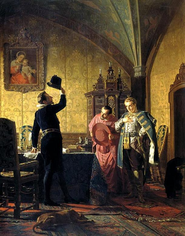 False Dmitri I promising Catholic conversion in Russia to the Polish King, Sigismund III. By Nikolai Vasilyevich Nevrev (1874).