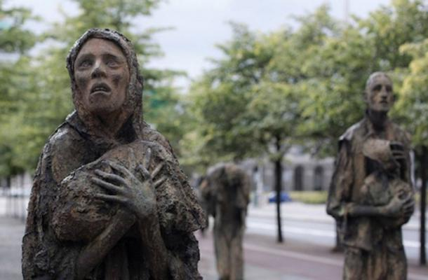 The famine is memorialized throughout Ireland. Above is the Famine Memorial in Dublin.