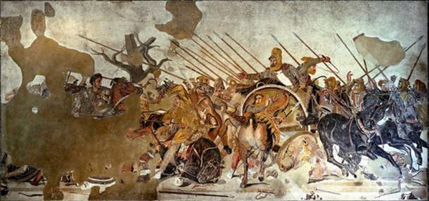 Famous Alexander Mosaic, showing Battle of Issus. Alexander is depicted mounted, on the left