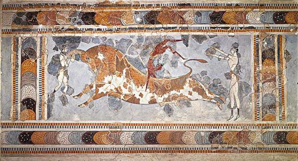 Famous Minoan fresco from palace of Knossos, currently in Herakleion museum