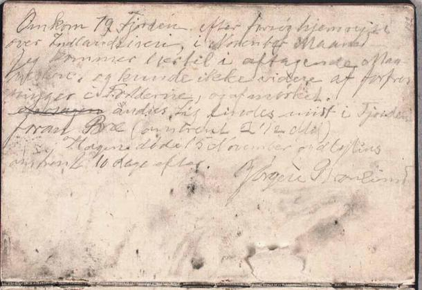 Brønlund's famous farewell note. (Det Kongelige Bibliotek)