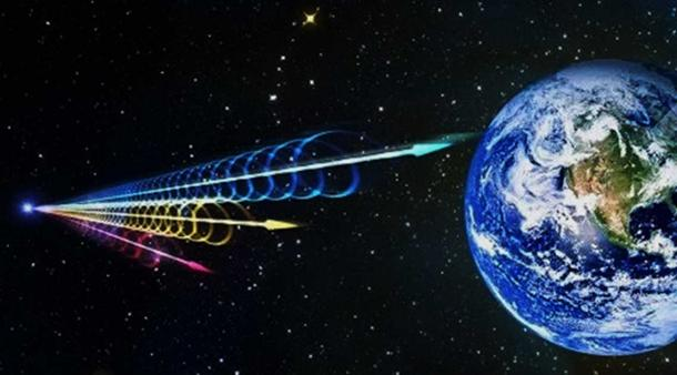 Artist's impression of a Fast Radio Burst (FRB) reaching Earth. Jingchuan Yu, Beijing Planetarium.