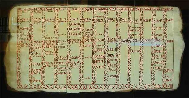 Fasti Antiates Maiores, is the oldest archaeologically attested local Roman calendar and the only such calendar known from before the Julian calendar reforms (here reconstructed). (Bauglir/ CC BY-SA 4.0)