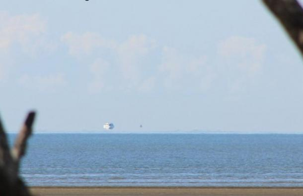 A Fata Morgana off the east coast of Australia that makes it appear as though a ship is floating above the horizon, on Aug. 26, 2012.