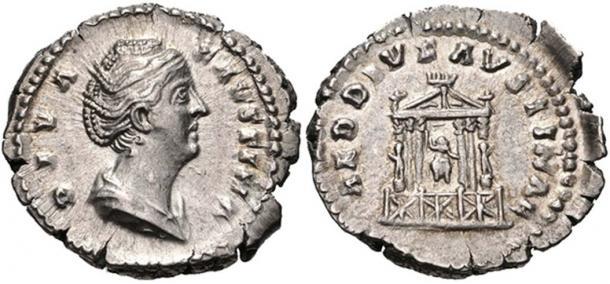 A denarius struck in honor of Faustina Major.