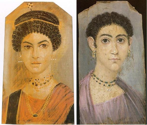Fayum mummy portraits of two women.
