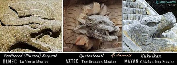 Feathered / Plumed Serpent transition over time from Olmec, to Aztec, to Maya.