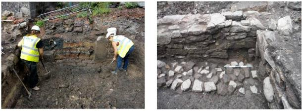 Features found at the site in Edinburgh