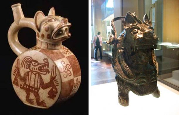 Left: Feline vessel (Moche culture, 100 – 800 AD, Peru). Right: Feline vessel  (Warring States Period, 481 - 221 BC, China)