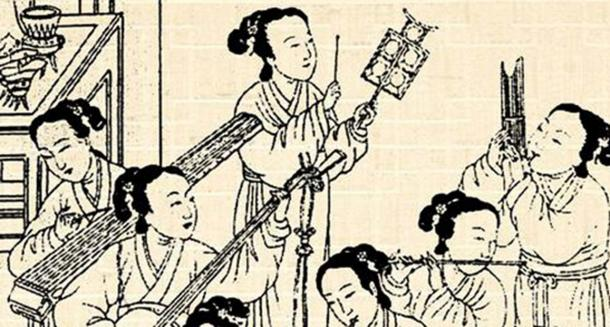 Female musicians performing Chinese classical music.
