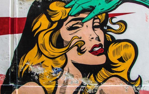 Femme fatale comic style graffiti
