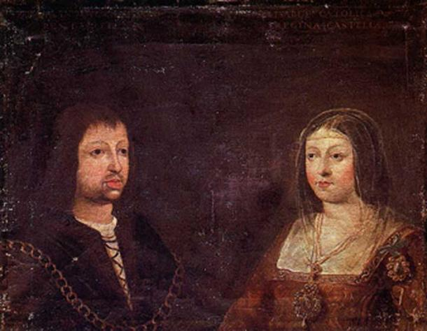 The wedding portrait of Ferdinand and Isabella, c. 1469.