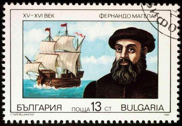 Ferdinand Magellan, the first of the early explorers to circumvent the globe, and his ship on a Bulgarian postage stamp. (Vic / Adobe Stock)