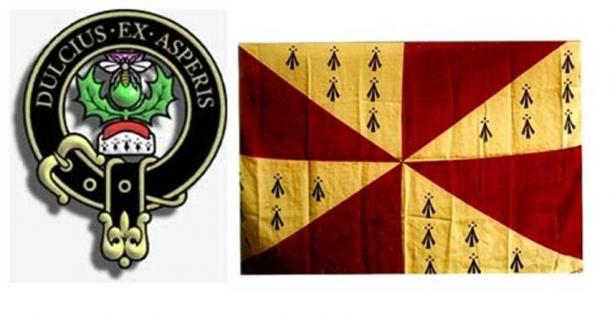 Left; Ferguson crest, one of many Dál Riata R1b-L513 families.  Note Veneti symbols at the base of the crown. Right; Dalriada flag represented in both Clans Campbell and MacMhathain (Matheson) [both R1b-L513].