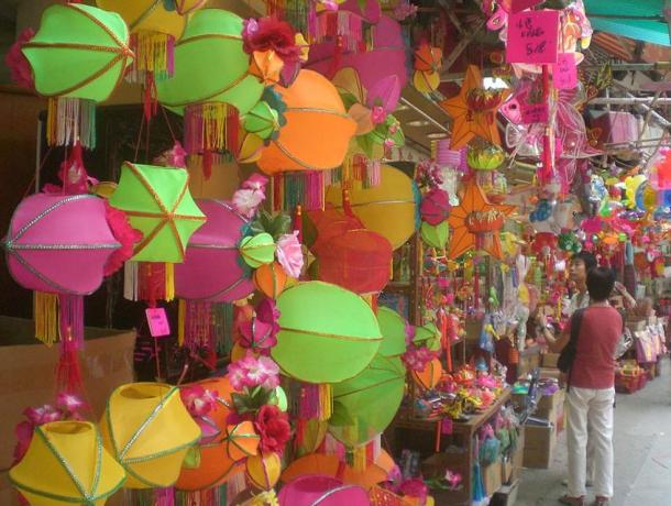Shopping for Mid-Autumn Festival lanterns in Hong Kong, China.