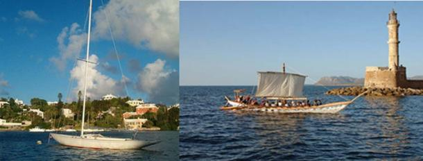 Fiberglass yacht hull today (Aodhdubh/CC BY SA 3.0) and reconstruction of a Minoan ship. (Travel Zone)