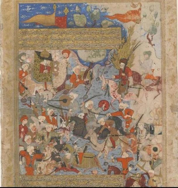 Fifteenth-century Persian miniature depicting the Battle of the Camel, where the fourth caliph 'Alī, defeated Muḥammad's wife, Āʿisha who subsequently withdrew from politics. Traditionalist Islamists use this art work to assert women shouldn't play active roles in government and politics, while others regard Āʿisha's legacy as a flag for gender equity in Islam. (Public Domain)