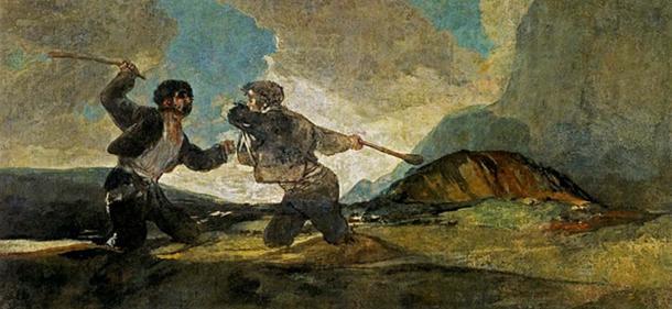 'Fight with Cudgels' (1819-1823) by Francisco de Goya. (Public Domain)