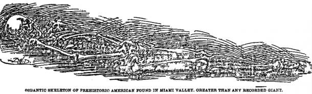 Figure 11: Illustration of over 8-foot skeleton discovered near Miamisburg.