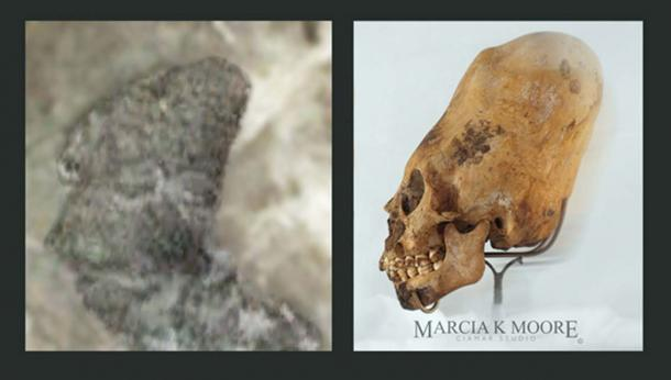 Figure 3(a) (left) – a strange, almost alien-like humanoid, similar to the elongated skull shown in Figure 3(b) (right). (Author provided) The photograph of the elongated skull, Fig. 3(b) is reproduced with the kind permission of Fine Arts and Facial Reconstruction Artist, Marcia K Moore, Ciamar Studio, USA. Her skeletal silhouette is used as a comparison piece with the unique sculpture discovered on Mariambo Island, Figure 3(a).