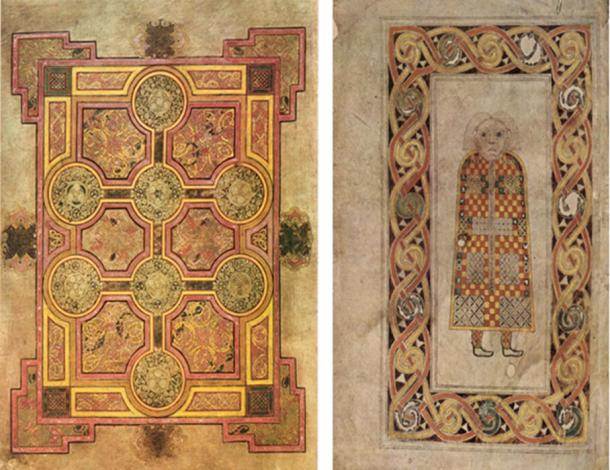 Figure 4.2. Left: Book of Kells, carpet page, folio 33 v2, 9th century. Right: Matthew, Book of Durrow, author page, 7th-8th centuries