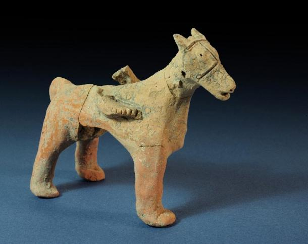 Figurine of a horse found in Tel Motza Iron Age temple in excavation site. (Clara Amit / Israel Antiquities Authority)