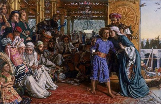 The Finding of the Savior in the Temple by William Holman Hunt (1860) Birmingham Museum and Art Gallery (Public Domain)