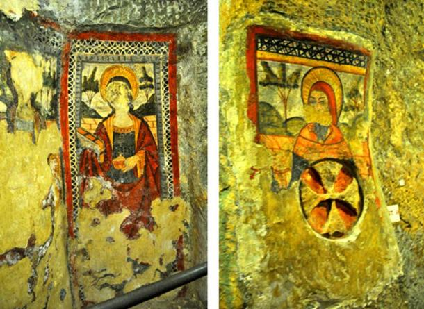 Fine frescoes at the catacombs and crypt of St. Agatha. (Image: Peter J. Shields)