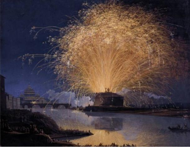 Fireworks over Castel Sant'Angelo in Rome, 1775