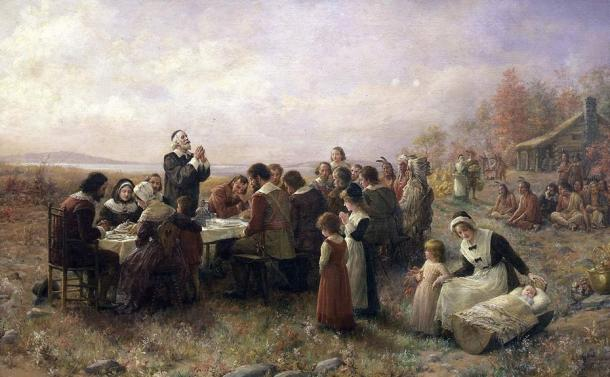 """The First Thanksgiving at Plymouth"" (1914)."