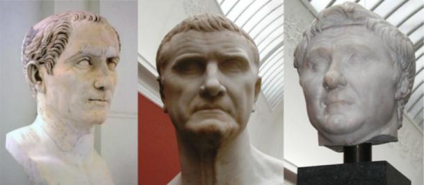 The First Triumvirate - Gaius Julius Caesar, Marcus Licinius Crassus, and Gnaeus Pompeius Magnus. (Azrael42 / Public Domain)