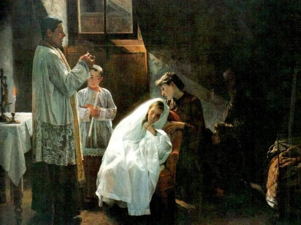 The First and Last Communion, an 1888 painting of a TB victim's last rites, by Cristobal Rojas