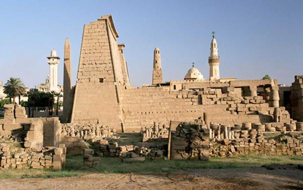 First pylon of Luxor temple, Egypt, seen from the west.