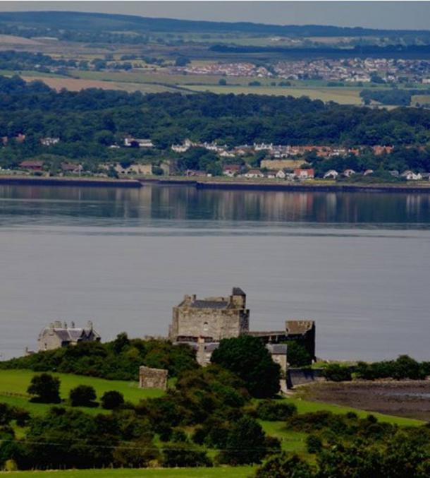 View of the Firth of Forth, Blackness Castle and the village of Charleston photographed from the grounds of the House of the Binns.
