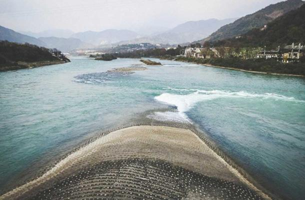 The 'Fish Mouth' levee. Part of the Dujiangyan irrigation system.