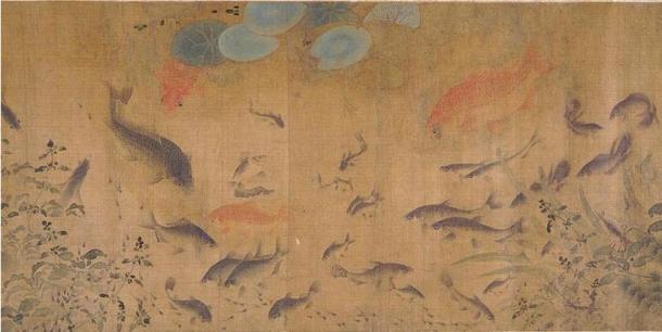 Fish Swimming Amid Falling Flowers by Liu Cai, China
