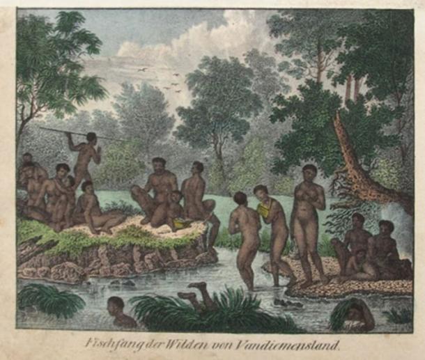 Fishery of the Wild People of Van Diemen's Land, probably by artist Friedrich Wilhelm Goedsche (1785-1863)