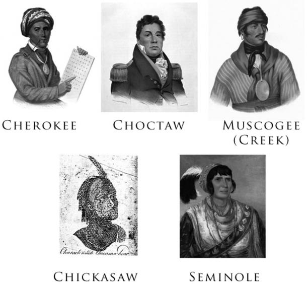 The Five Civilized Tribes: Cherokee - Tsali's tribe, Choctaw, Muscogee/Creek, Chickasaw, and Seminole