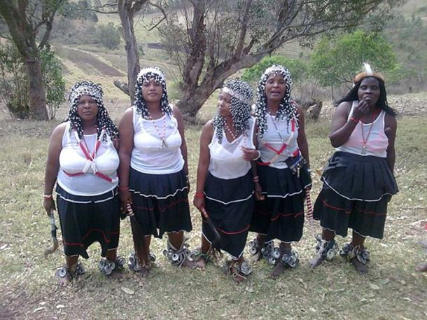 Five modern sangomas (diviners – traditional healers) at an Umgido (Ceremony) in Zululand.