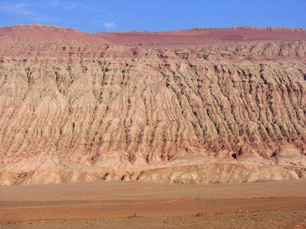 The red Flaming Mountains of the Turpan Basin, northwestern China.