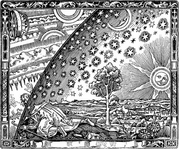 "The famous ""Flat Earth"" Flammarion engraving. The image depicts a man crawling under the edge of the sky as if it were a solid hemisphere, to look at the mysterious Empyrean beyond. (Camille Flammarion / Public Domain)"