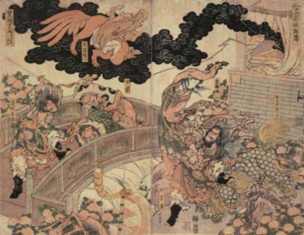 Fleeing fox spirit - Using an Ofuda the Onmyōji expelled the Kitsune. (Tobosha / Public Domain)