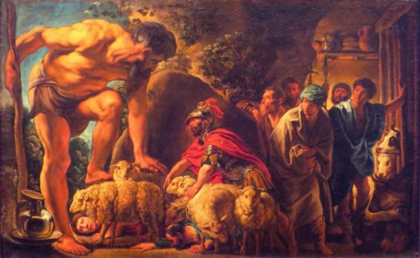 Fleeing the cave of Polyphemus. (Wmpearl / Public Domain)