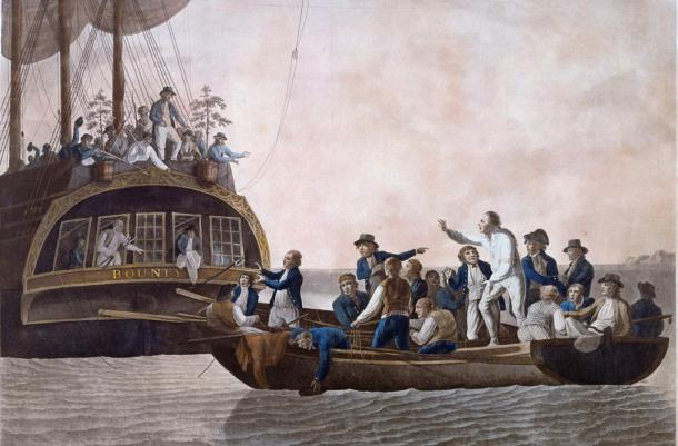 Fletcher Christian and the mutineers turn Lieutenant William Bligh and 18 others adrift; 1790 painting by Robert Dodd