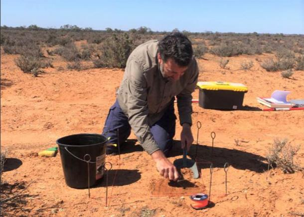 Flinders archaeologist Craig Westell conducting field work. (Flinders University)