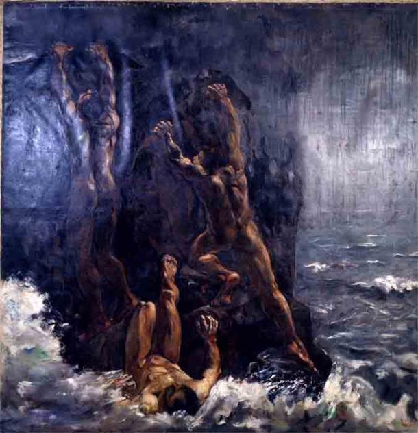 Великий потоп (Die Sintflut, Suendflut), картина Лессер-Ури (1861-1931), изображает «ужас» того, как мог выглядеть библейский потоп.
