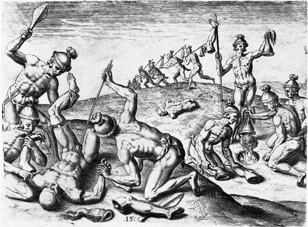 Jacques le Moyne de Morgues reported mutilation of bodies by Florida Indians in the 16th century, including cutting off arms and legs